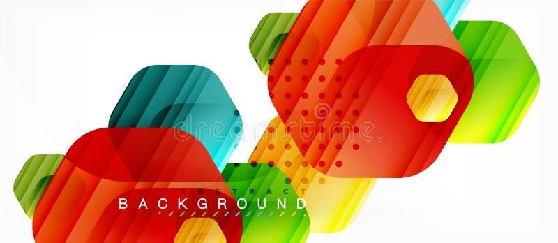 Fondo moderno della composizione in esagoni lucidi di colore, progettazione di vetro brillante royalty illustrazione gratis