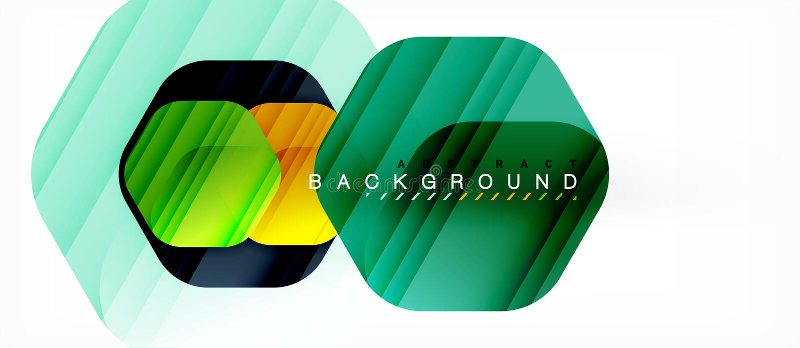 Fondo moderno della composizione in esagoni lucidi di colore, progettazione di vetro brillante illustrazione vettoriale