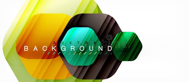 Fondo moderno della composizione in esagoni lucidi di colore, progettazione di vetro brillante illustrazione di stock
