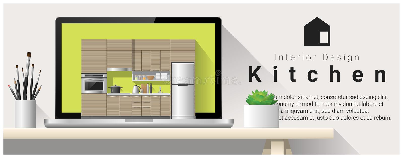 Fondo moderno di interior design della cucina illustrazione vettoriale