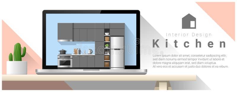 Fondo moderno di interior design della cucina illustrazione di stock