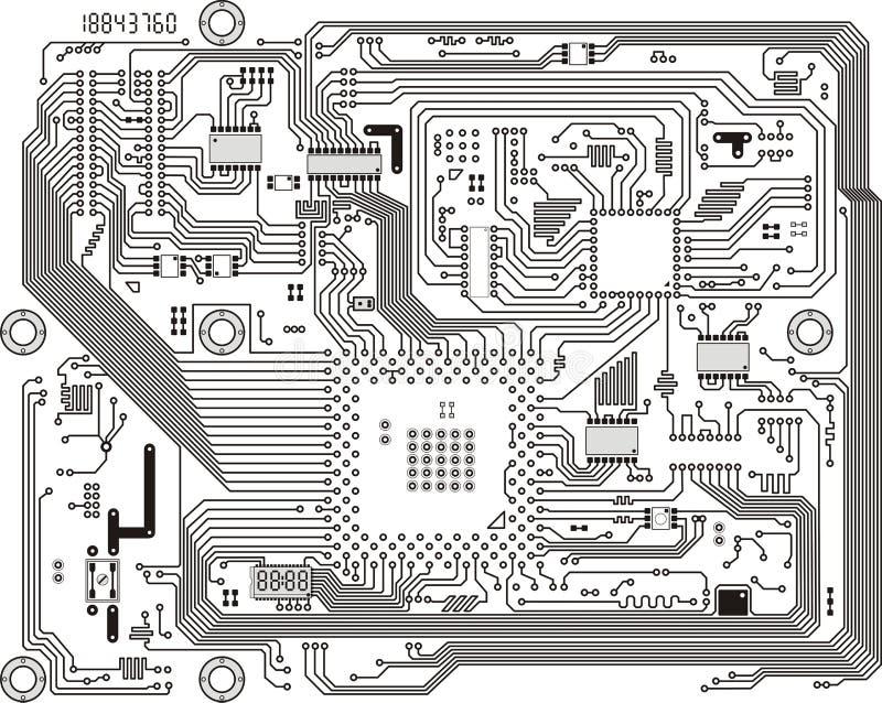 Fondo moderno electrónico del vector de la tarjeta de circuitos ilustración del vector