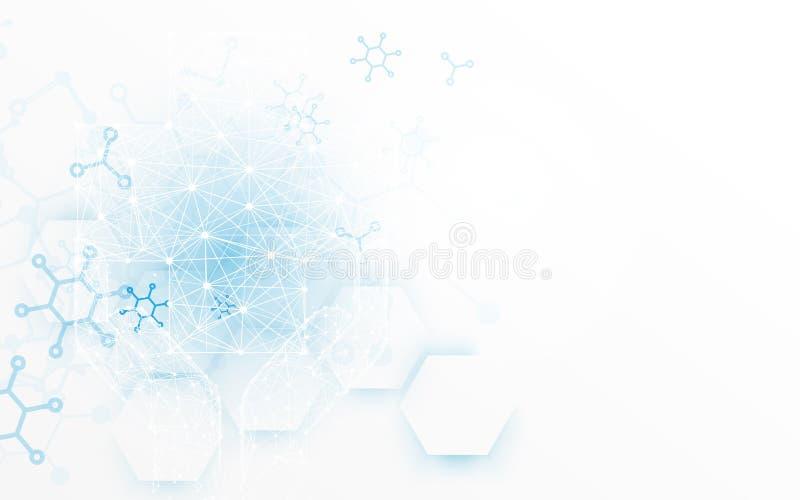 Fondo moderno geométrico abstracto Fondo del concepto de la medicina y de la ciencia libre illustration