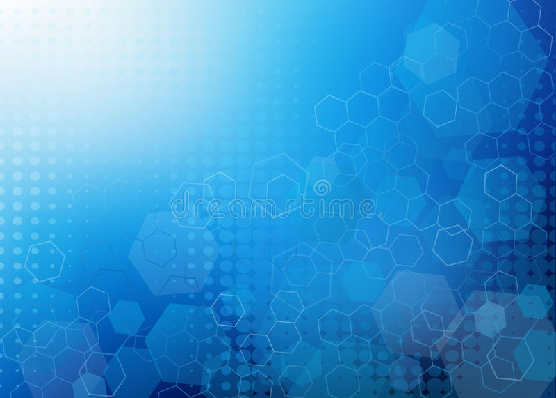 Fondo molecolare blu fresco astratto di progettazione illustrazione di stock