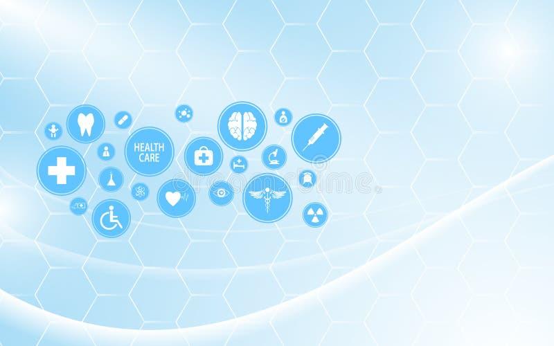 Fondo molecular abstracto del diseño del modelo de la tecnología de la innovación de la atención sanitaria stock de ilustración