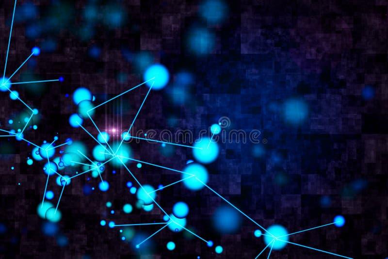 Fondo molecular azul ilustración del vector