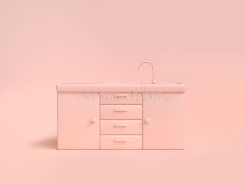 Fondo molle 3d della rosa-crema dell'estratto del lavandino di cucina del gabinetto del cassetto rendere concetto della cucina de illustrazione vettoriale