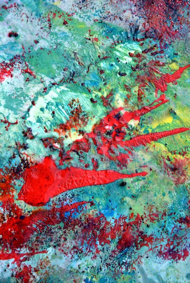 Fondo molle pastello astratto giallo verde blu rosso romantico, tonalità, fondo della pittura dell'acquerello fotografie stock libere da diritti