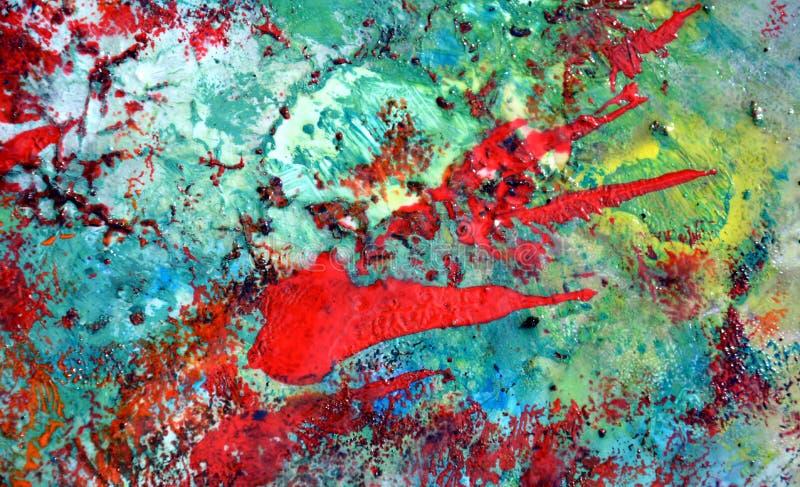 Fondo molle pastello astratto giallo verde rosso romantico, tonalità, fondo della pittura dell'acquerello immagine stock libera da diritti