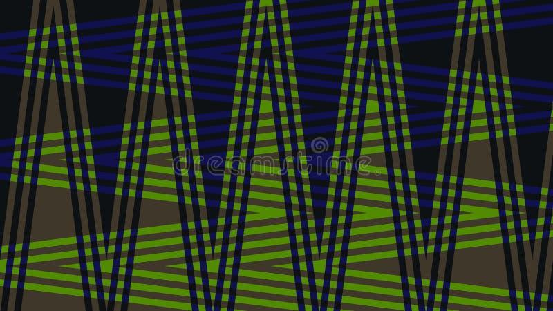 Fondo molto bello e originale con lo zigzag dei colori blu scuro e verdi! illustrazione vettoriale