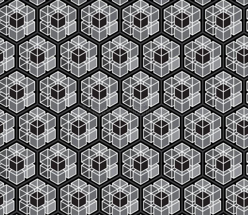 Fondo monocromático inconsútil abstracto de los modelos de los polígonos; Repetición de diseño del vector de la teja de la textur stock de ilustración