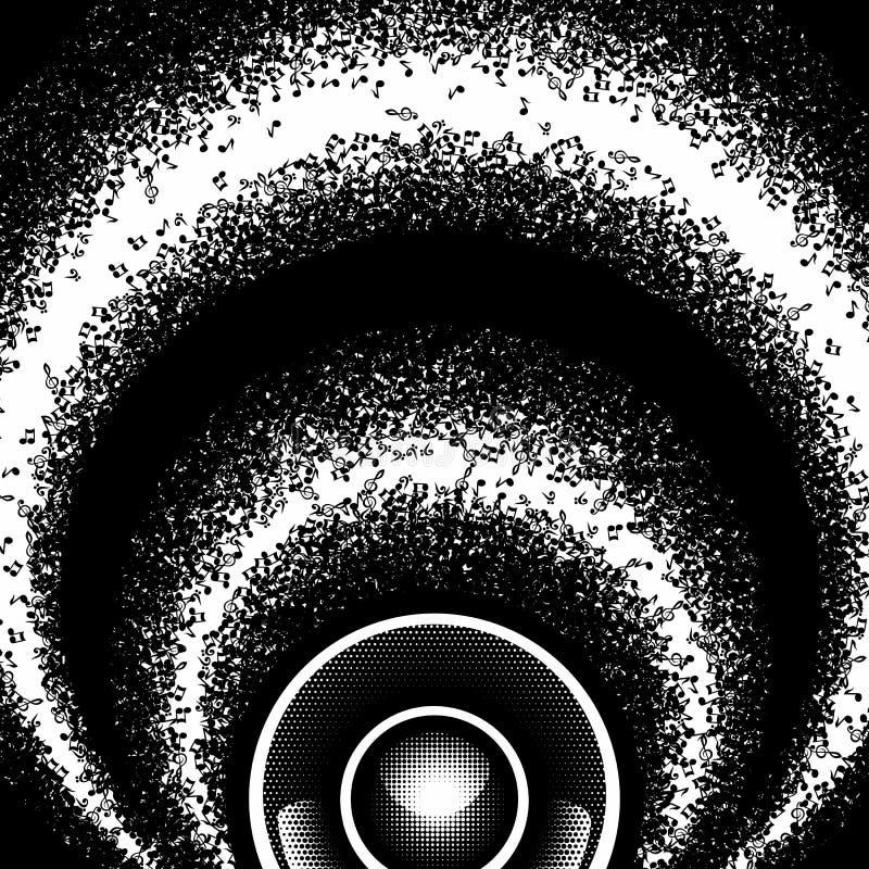 Fondo monocromático redondo abstracto con las notas y el altavoz de la música stock de ilustración