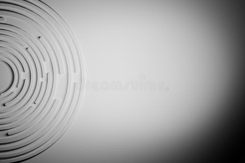Fondo monocromatico astratto con le forme circolari illustrazione vettoriale