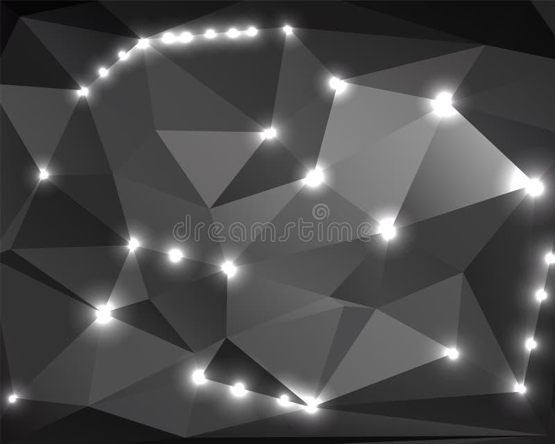 Poligono monocromatico astratto 2 del fondo illustrazione di stock