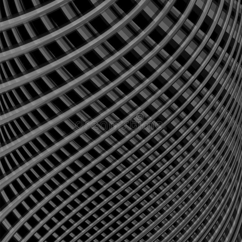 Fondo monocromatico di illusione di griglia di progettazione illustrazione vettoriale