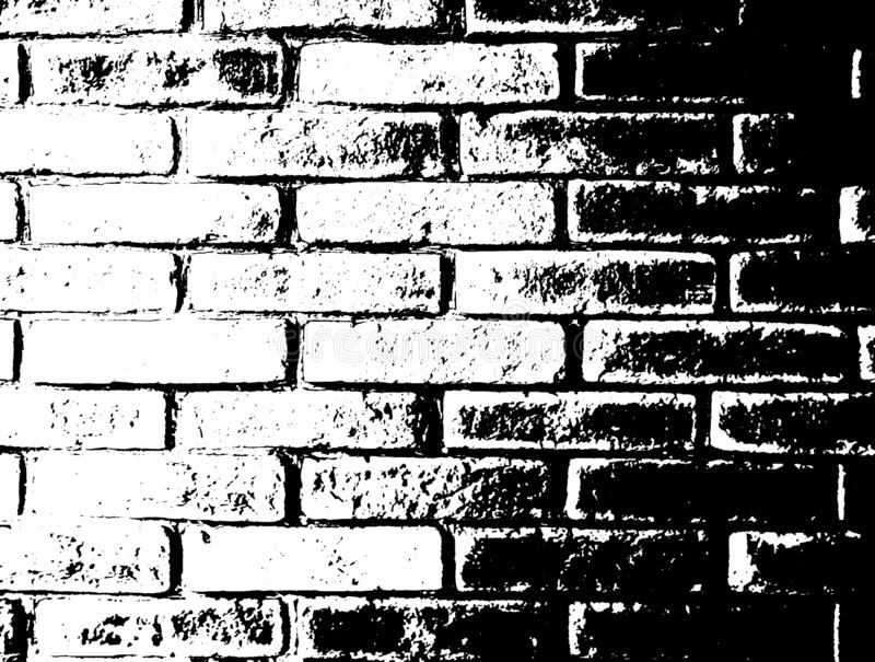 Fondo monocromatico di lerciume di vettore Illustrazione di struttura del muro di mattoni Effetto della sovrapposizione del bollo illustrazione di stock