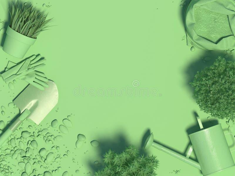 Fondo monocromatico verde della primavera con gli strumenti e le piante di giardino in vasi da fiori Copi lo spazio Vista superio royalty illustrazione gratis