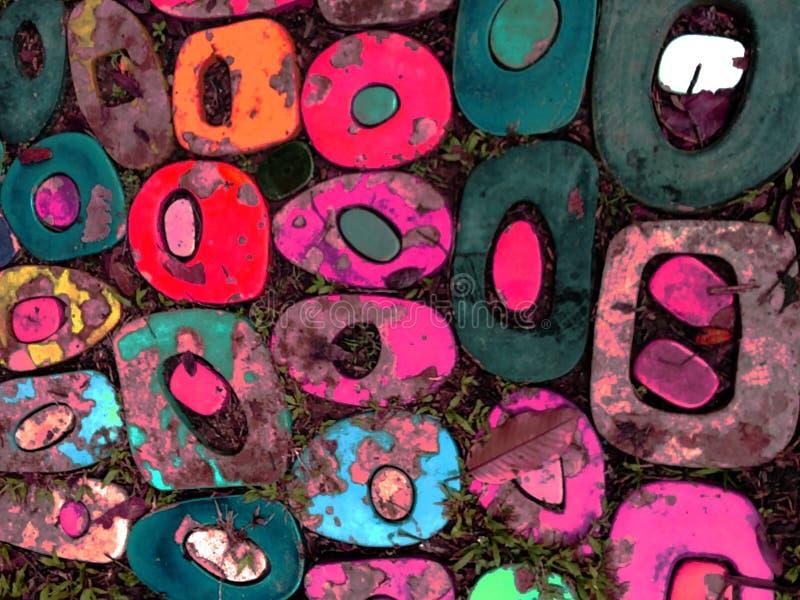 Fondo multicolor de la pared de ladrillo del grunge del extracto fotografía de archivo libre de regalías
