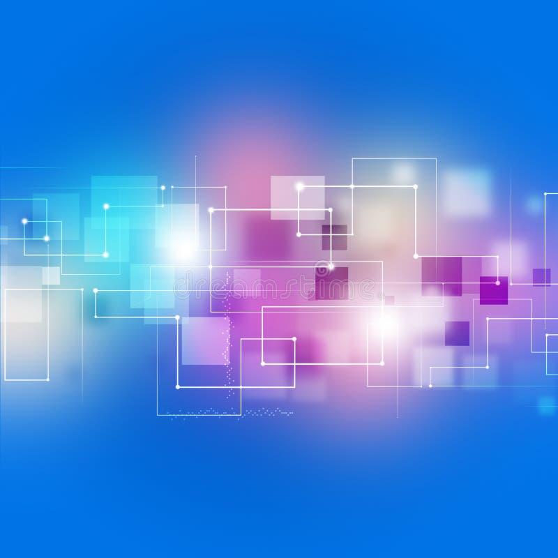 Fondo multicolor de la tecnología de las conexiones abstractas stock de ilustración