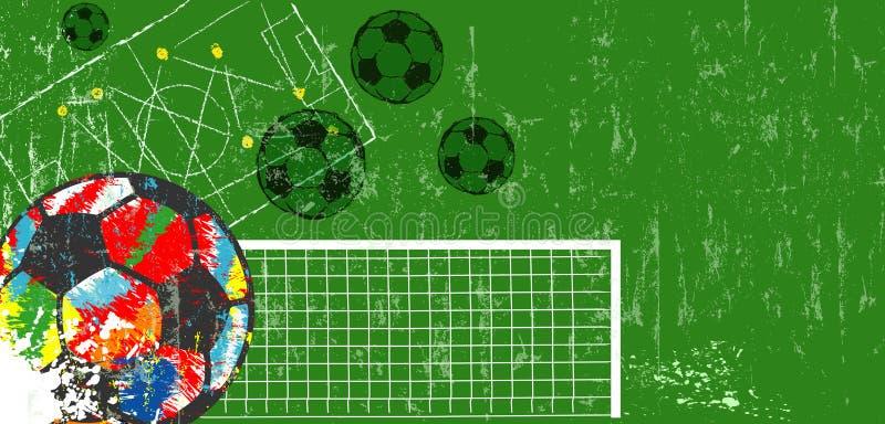 Fondo multicolor del balón de fútbol, del fútbol y del fútbol, maqueta, espacio de la copia Ejemplo sucio del vector ilustración del vector
