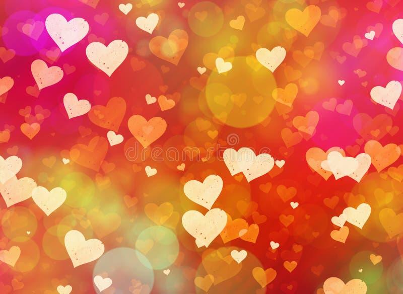 Fondo multicolor del bokeh de los corazones stock de ilustración