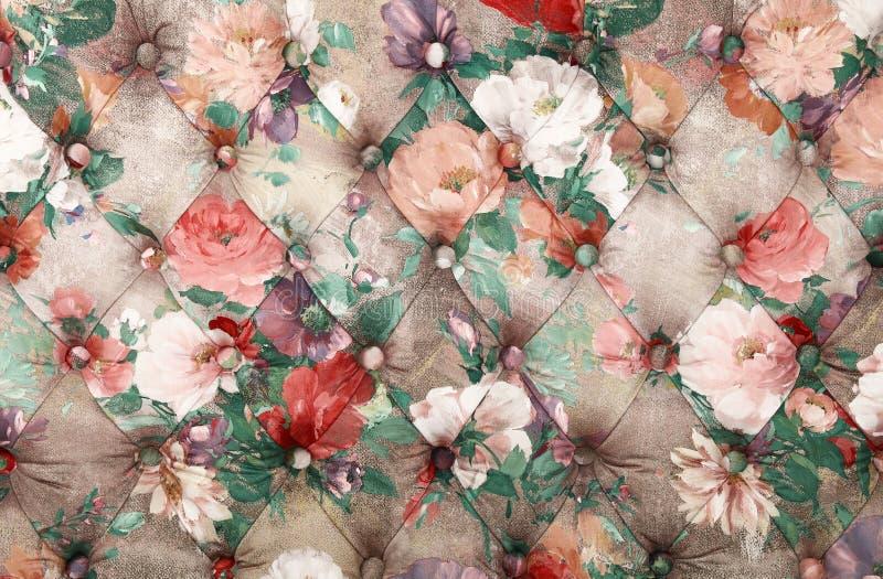 Fondo multicolor del capitone con el estampado de flores foto de archivo libre de regalías
