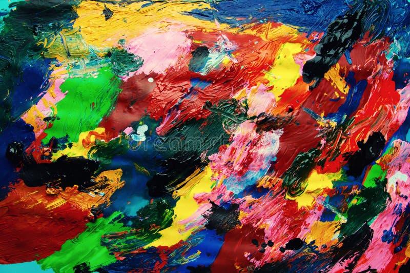 Fondo multicolor del extracto del primer de las pinturas de aceite desde arriba foto de archivo libre de regalías