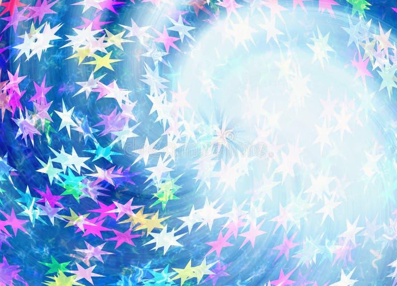 Fondo multicolor pintado de muchas estrellas con el brillo de neón stock de ilustración
