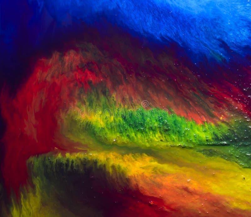 Fondo multicolore astratto della miscela della pittura acrilica fotografie stock libere da diritti