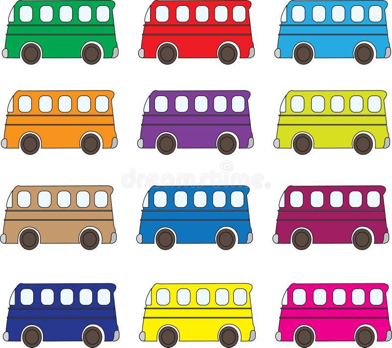 Fondo multicolore dei bus royalty illustrazione gratis
