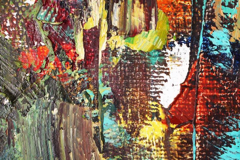 Fondo multicolore dell'estratto del primo piano delle pitture ad olio degli artisti illustrazione di stock
