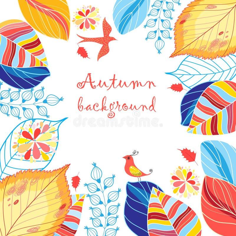 Fondo multicolore di autunno con le foglie illustrazione vettoriale