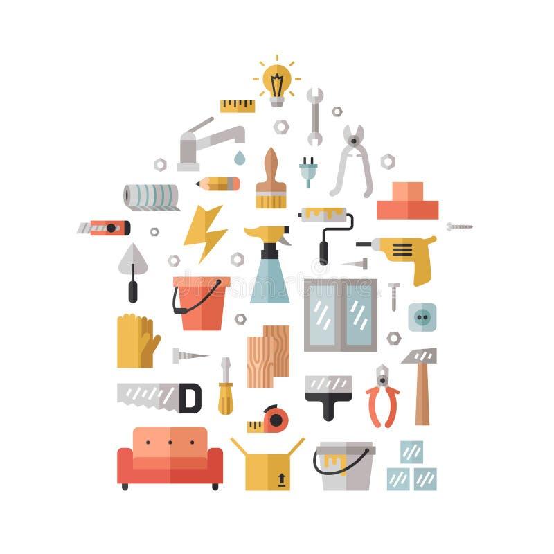 Fondo multicolore piano domestico di vettore della costruzione e di riparazione Progettazione minima moderna Manifesto di forma d illustrazione di stock