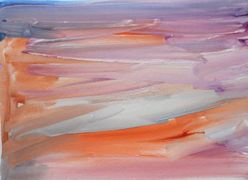 Fondo multicolore strutturato dell'estratto dell'acquerello con i colpi lilla, blu e rosa dell'arancia, della spazzola royalty illustrazione gratis