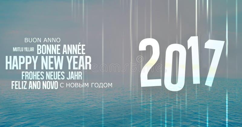 Fondo multilingue 2017 dell'oceano illustrazione di stock
