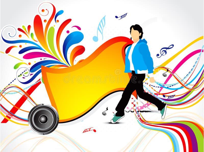 Fondo musical colorido abstracto con floral ilustración del vector