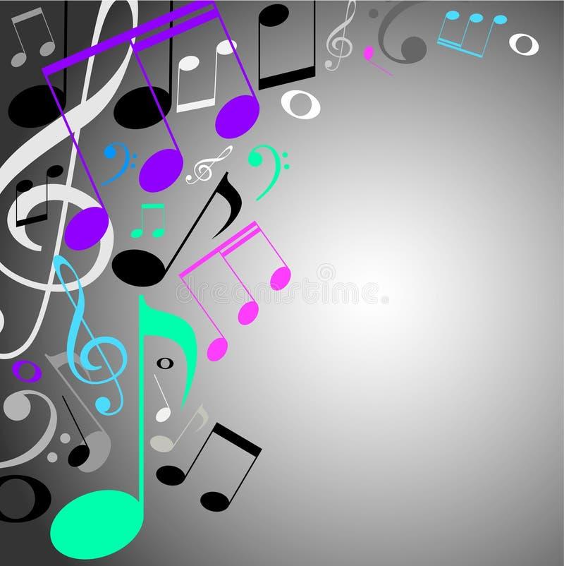 Fondo musical. notas del color ilustración del vector