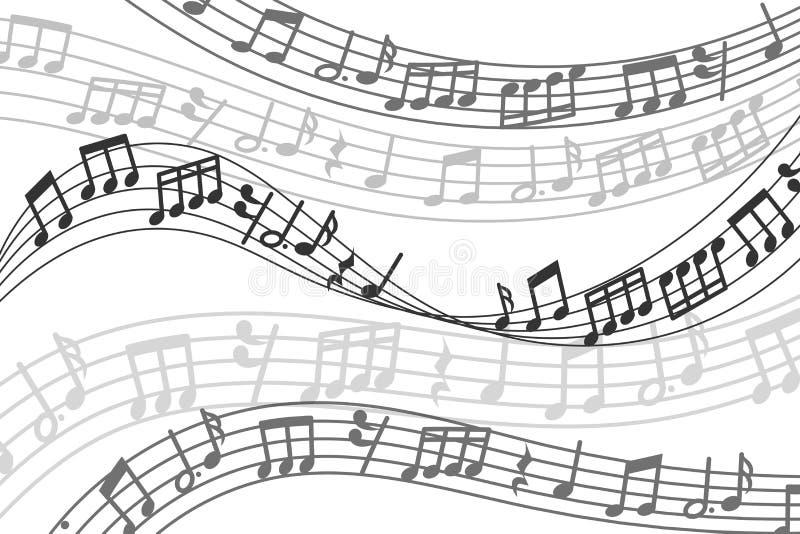Fondo musicale di vettore astratto con le note di musica e l'onda sonora illustrazione vettoriale