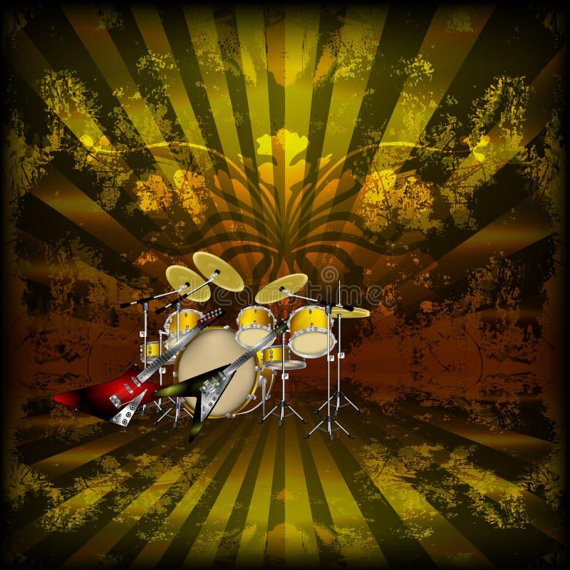 Fondo musicale luminoso con una chitarra della roccia royalty illustrazione gratis