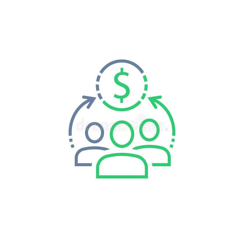 Fondo mutuo, servicio corporativo, compartiendo concepto de la economía, gestión financiera, nueva inversión empresarial, compra  stock de ilustración