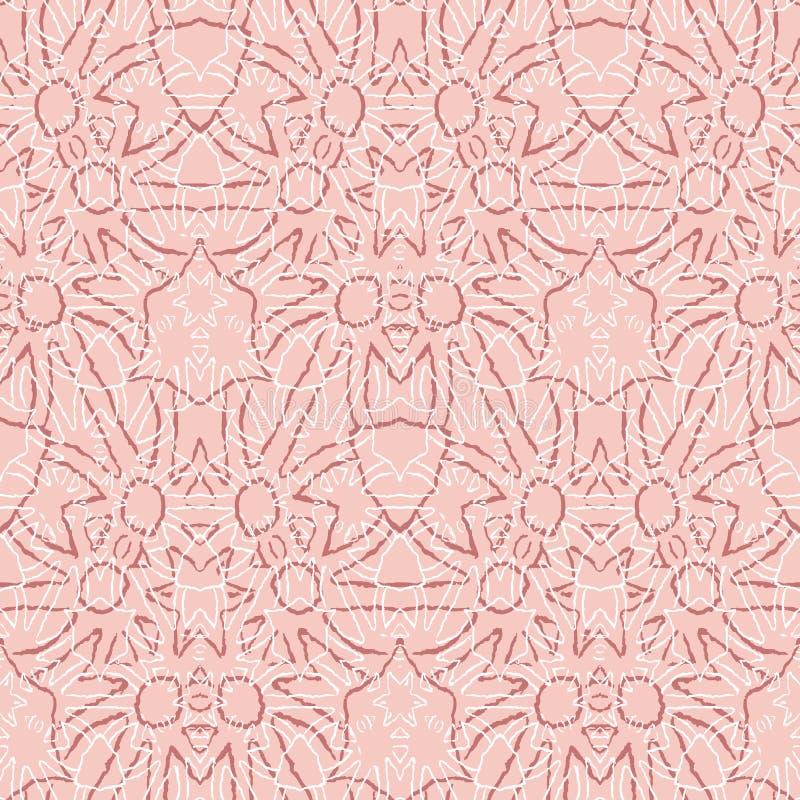 Fondo nórdico rosado rojo de la Navidad El modelo inconsútil geométrico simple con formas de campana, acebo ramifica, las cintas stock de ilustración