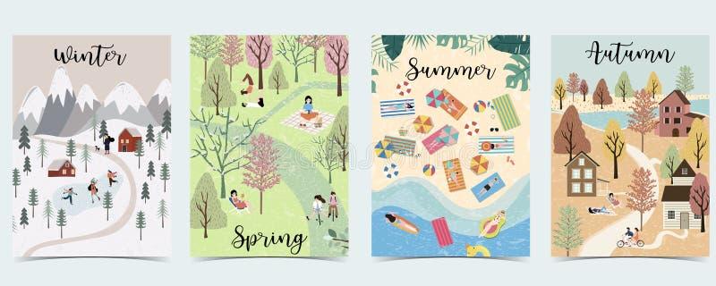 Fondo natural con el invierno, primavera, verano, estación del otoño Vector del cartel con la actividad de la gente libre illustration