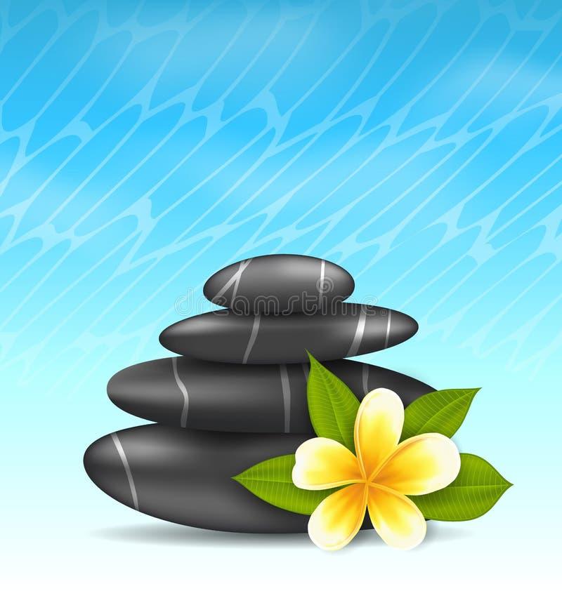 Fondo natural con la flor del frangipani (plumeria) y la pirámide stock de ilustración