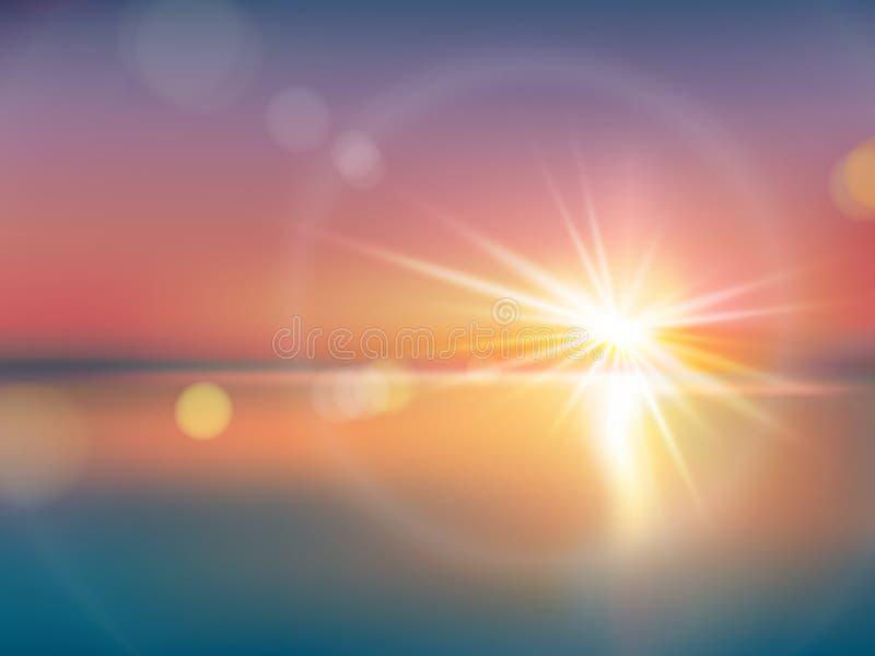 Fondo natural con luz del sol brillante, con la llamarada de la lente stock de ilustración