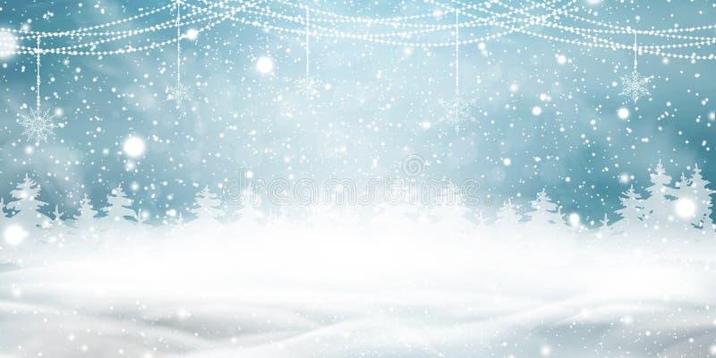 Fondo natural de la Navidad del invierno con el cielo azul, nevadas pesadas, nieve, bosque conífero nevoso, guirnaldas ligeras stock de ilustración