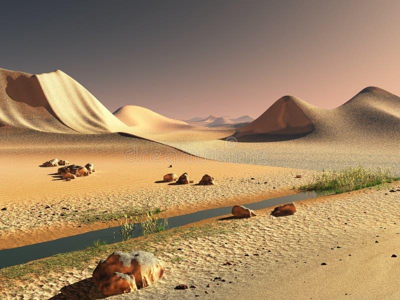 Fondo natural hermoso - representación africana del oasis 3d ilustración del vector