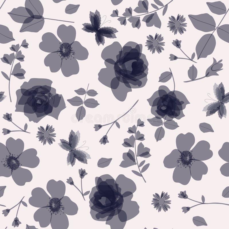 Fondo natural inconsútil con las flores salvajes y que cultivan un huerto transparentes monocromáticas libre illustration