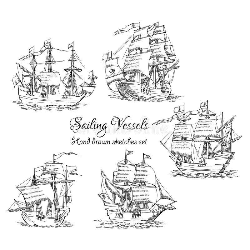 Fondo nautico con le imbarcazioni a vela illustrazione di stock