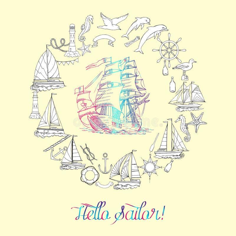 Fondo nautico con le imbarcazioni a vela ed i nodi della ruota, dell'ippocampo, del delfino e del mare royalty illustrazione gratis