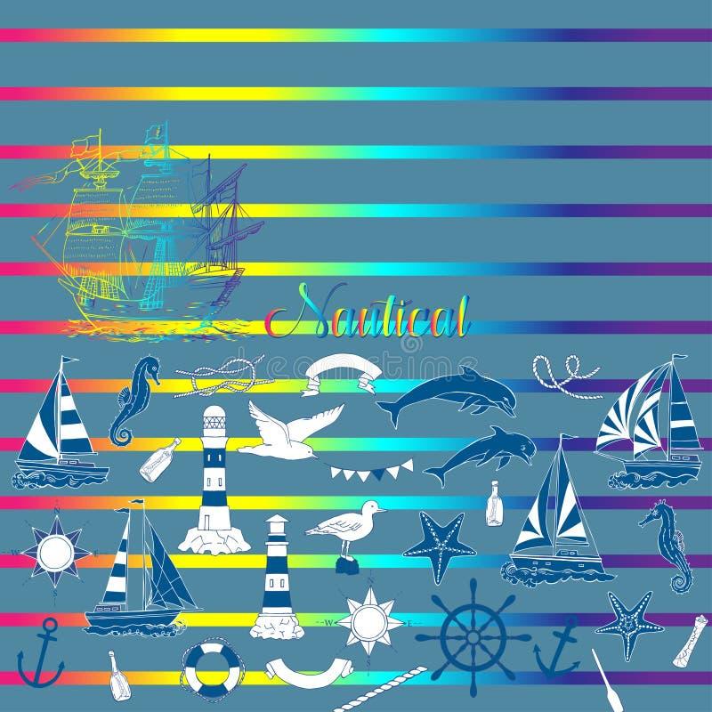 Fondo nautico con le imbarcazioni a vela ed i nodi della ruota, dell'ippocampo, del delfino e del mare illustrazione di stock